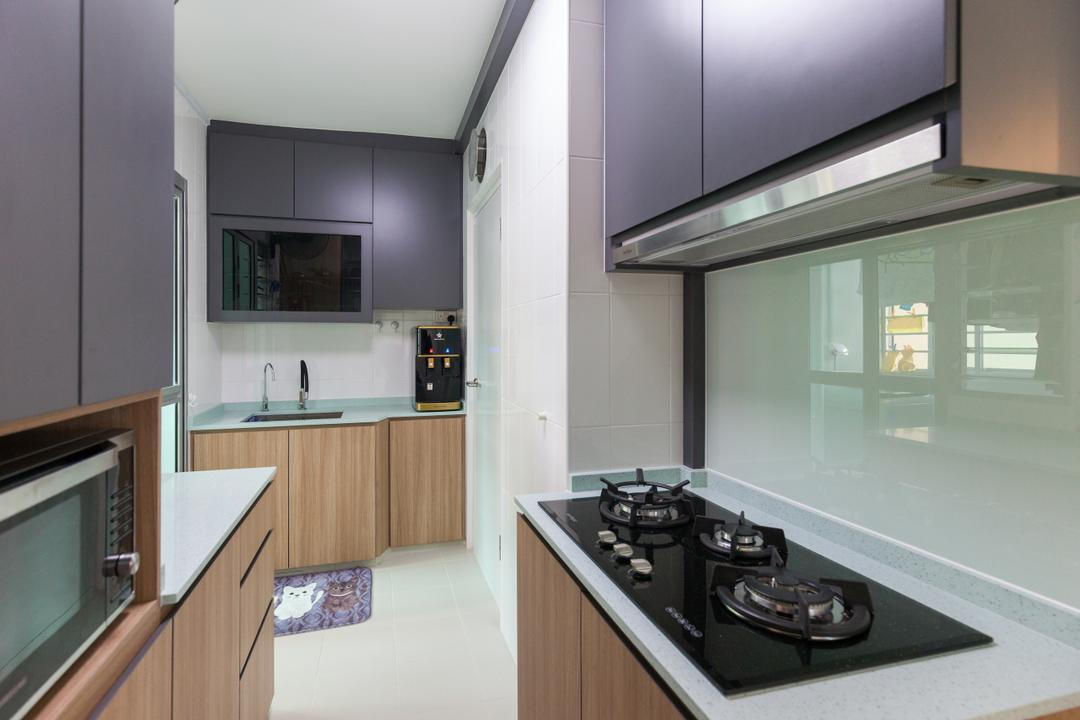Clementi Avenue 4, Ascenders Design Studio, Modern, Scandinavian, Kitchen, HDB, Indoors, Interior Design, Room, Appliance, Electrical Device, Oven, Stove, Bathroom, Building, Housing, Loft