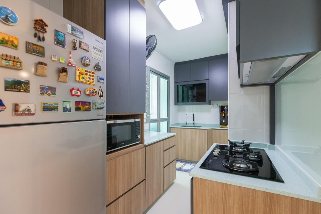 Clementi Avenue 4, Ascenders Design Studio, Modern, Scandinavian, Kitchen, HDB, Indoors, Interior Design, Room, Appliance, Burner, Electrical Device, Oven, Microwave