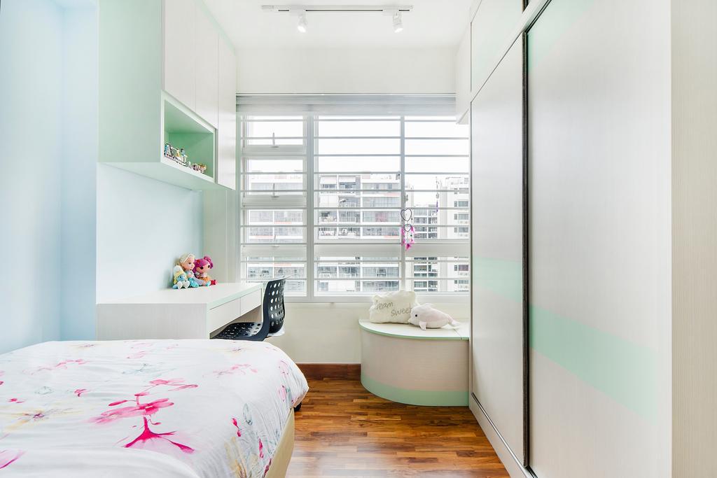 Eclectic, HDB, Bedroom, Punggol Field (Block 268C), Interior Designer, Cozy Ideas Interior Design, Shelf, Bed, Furniture