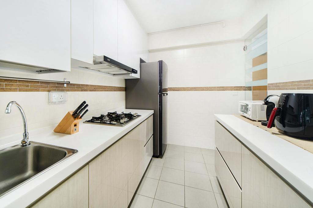 Eclectic, HDB, Kitchen, Punggol Field (Block 268C), Interior Designer, Cozy Ideas Interior Design, Sink, Appliance, Electrical Device, Microwave, Oven
