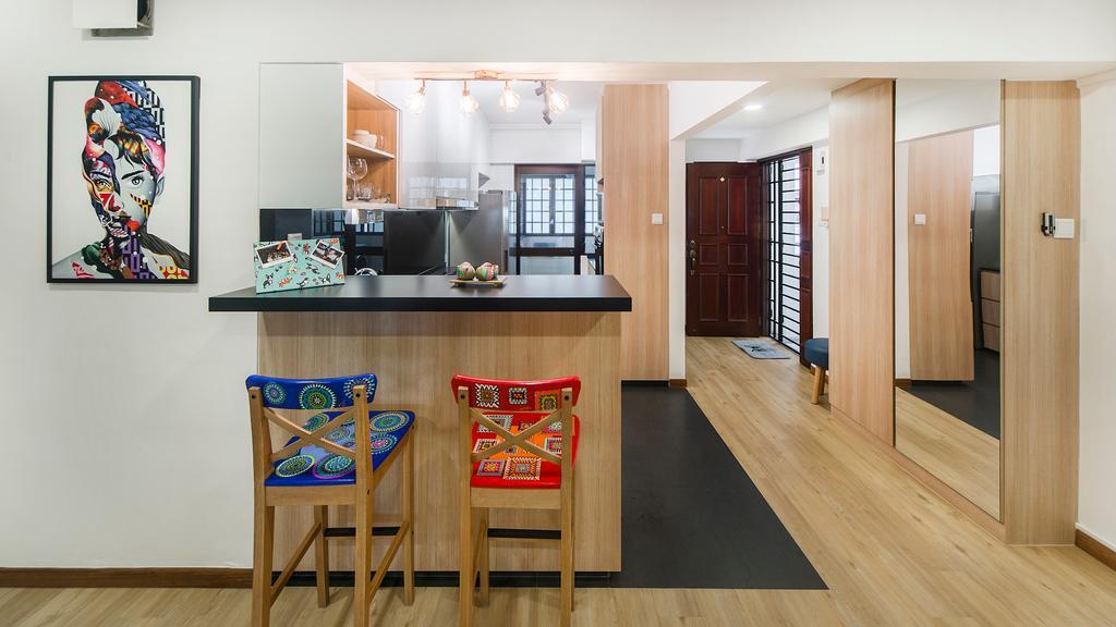 Modern, HDB, Kitchen, Bedok Reservoir (Block 766), Interior Designer, Cozy Ideas Interior Design, Scandinavian, Chair, Furniture, Bar Stool, Dining Room, Indoors, Interior Design, Room, Flooring