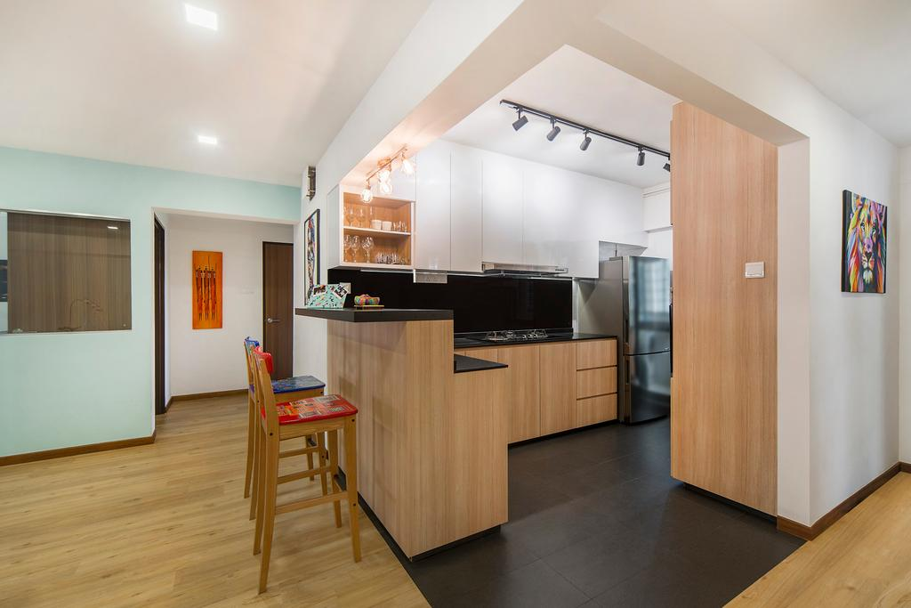 Modern, HDB, Kitchen, Bedok Reservoir (Block 766), Interior Designer, Cozy Ideas Interior Design, Scandinavian, Flooring, Building, Housing, Indoors, Loft