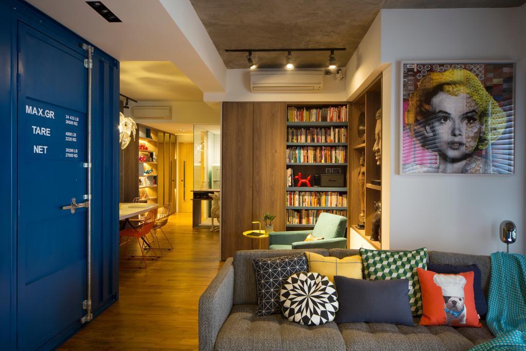 Eclectic, Condo, Living Room, Cityscape (Farrer Park), Interior Designer, Prozfile Design, Couch, Furniture, Indoors, Interior Design, Cushion, Home Decor