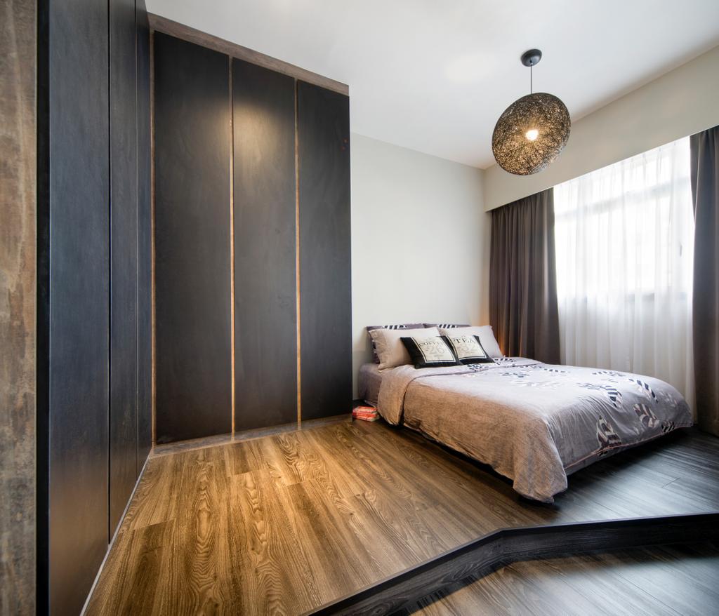 Industrial, HDB, Bedroom, Tampines Greenleaf (Block 523D), Interior Designer, Chapter One Interior Design, Bed, Furniture, Closet, Wardrobe, Indoors, Interior Design, Room