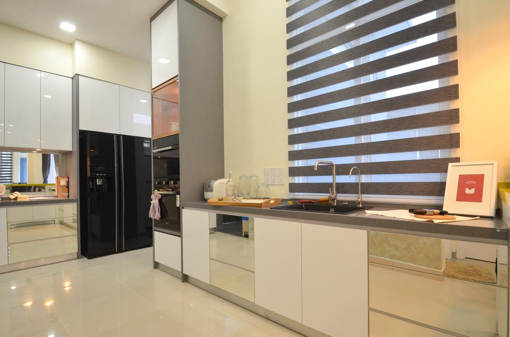 Modern, Landed, Dolomite Templer, Rawang, Interior Designer, Zyon Studio Sdn. Bhd., Eclectic, Transitional, Appliance, Electrical Device, Fridge, Refrigerator, Indoors, Interior Design, Kitchen, Room