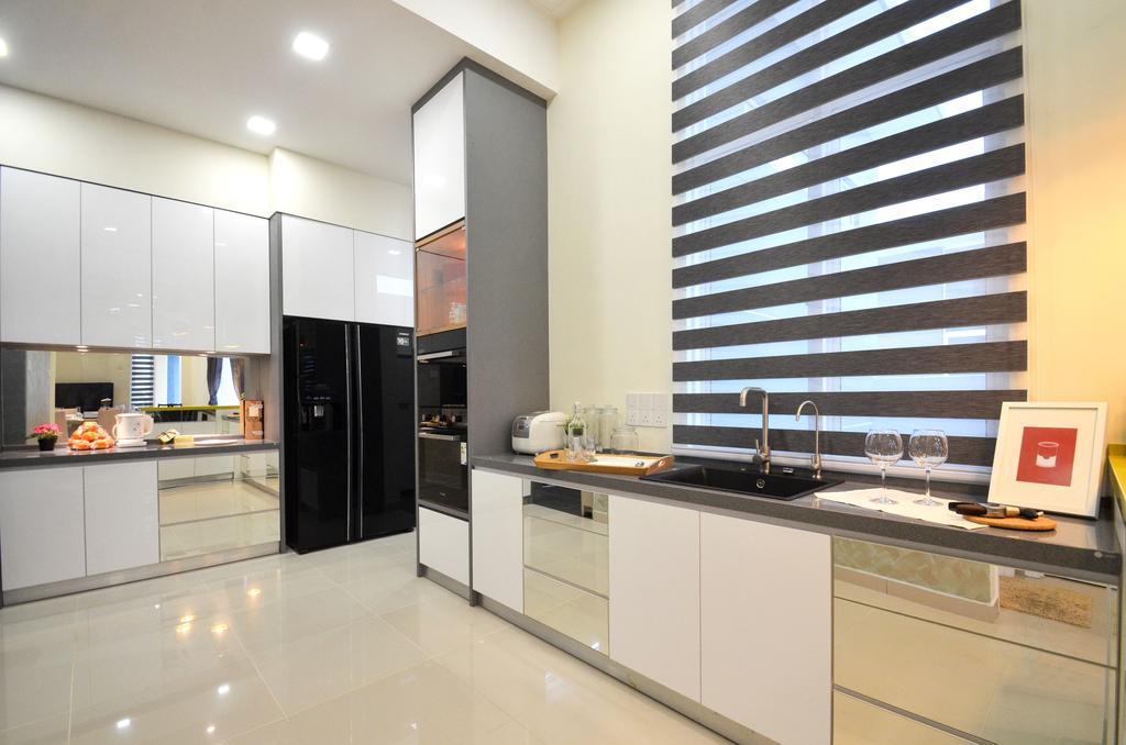 Modern, Landed, Dolomite Templer, Rawang, Interior Designer, Zyon Studio Sdn. Bhd., Eclectic, Transitional, Indoors, Interior Design, Kitchen, Room