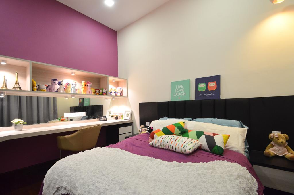 Modern, Landed, Dolomite Templer, Rawang, Interior Designer, Zyon Studio Sdn. Bhd., Eclectic, Transitional, Bed, Furniture, Bedroom, Indoors, Interior Design, Room
