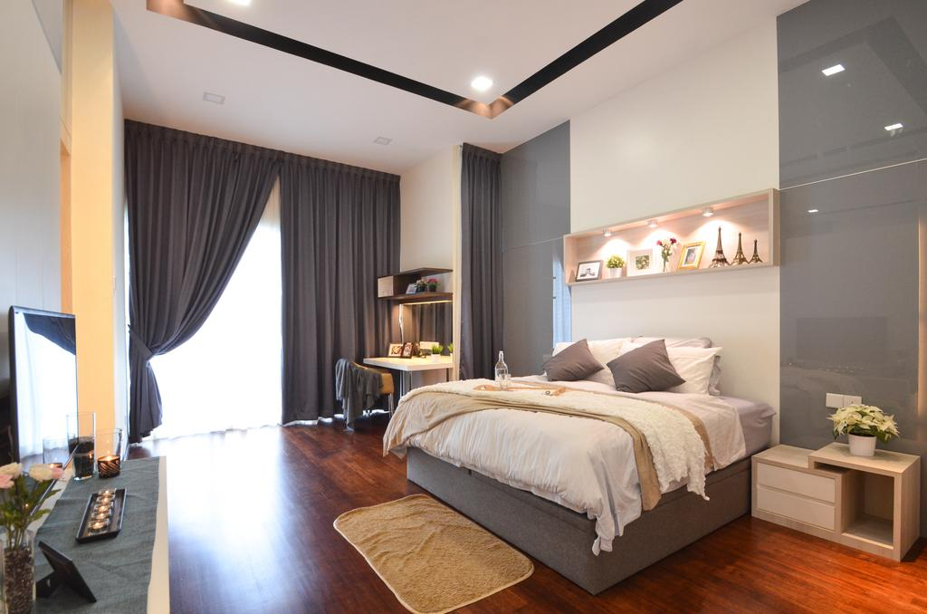 Modern, Landed, Dolomite Templer, Rawang, Interior Designer, Zyon Studio Sdn. Bhd., Eclectic, Transitional, Bed, Furniture, Bedroom, Indoors, Interior Design, Room, Molding