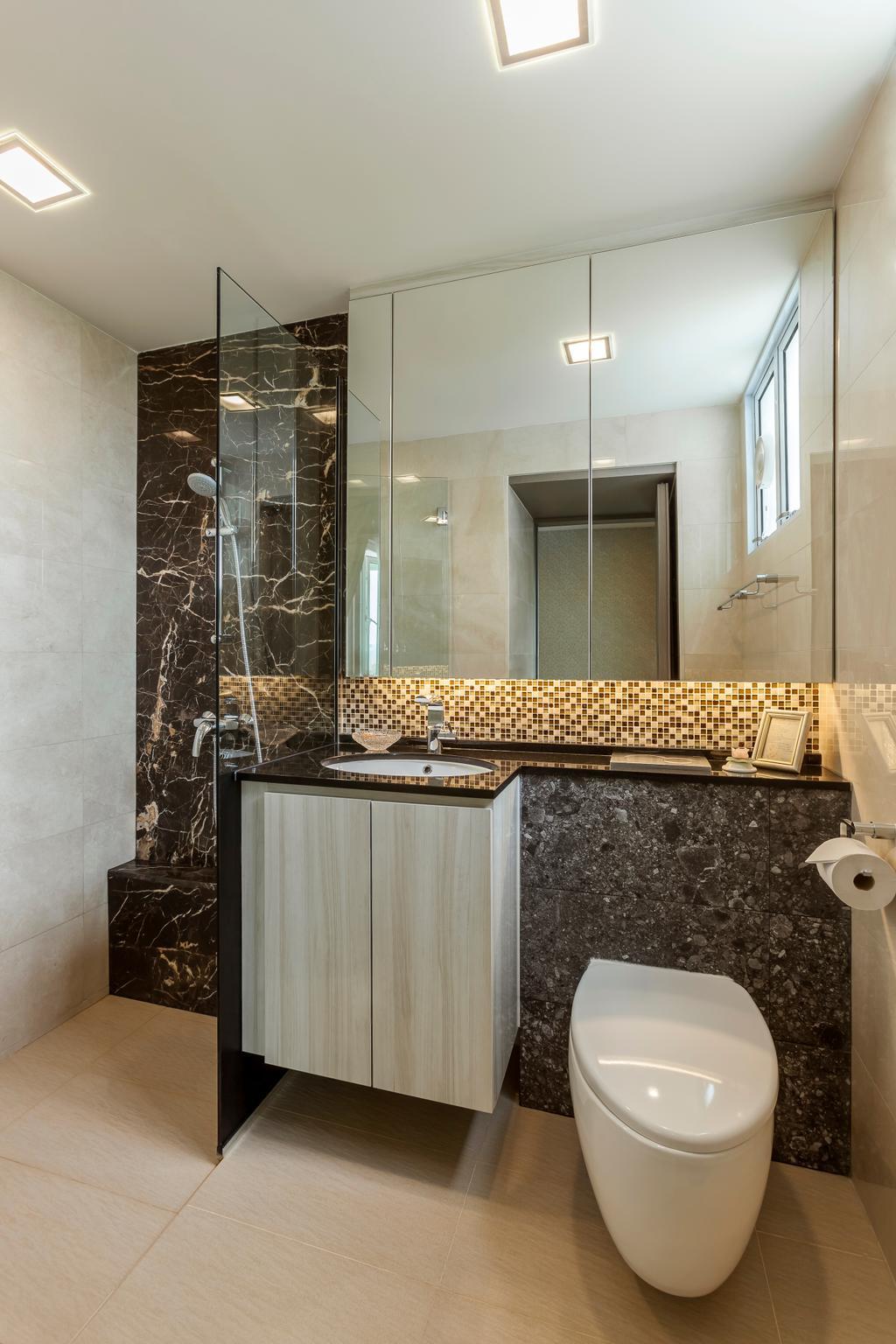 Modern, Condo, Bathroom, Bukit Timah, Interior Designer, The Interior Lab, Bathroom Vanity, Mirror, Shower Area, Marble, Tiles, Bathroom Tiles, Indoors, Interior Design, Room, Bird Feeder