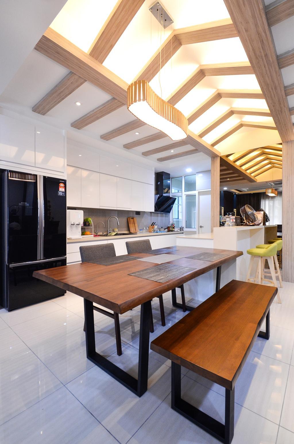 Minimalistic, Landed, Damansara Foresta, Interior Designer, Interior+ Design Sdn. Bhd., Modern, Dining Table, Furniture, Table, Appliance, Electrical Device, Fridge, Refrigerator, Indoors, Interior Design, Kitchen, Room, Dining Room
