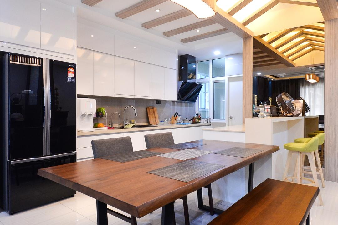 Damansara Foresta, Interior+ Design Sdn. Bhd., Minimalistic, Modern, Landed, Dining Table, Furniture, Table, Appliance, Electrical Device, Fridge, Refrigerator, Indoors, Interior Design, Kitchen, Room, Dining Room