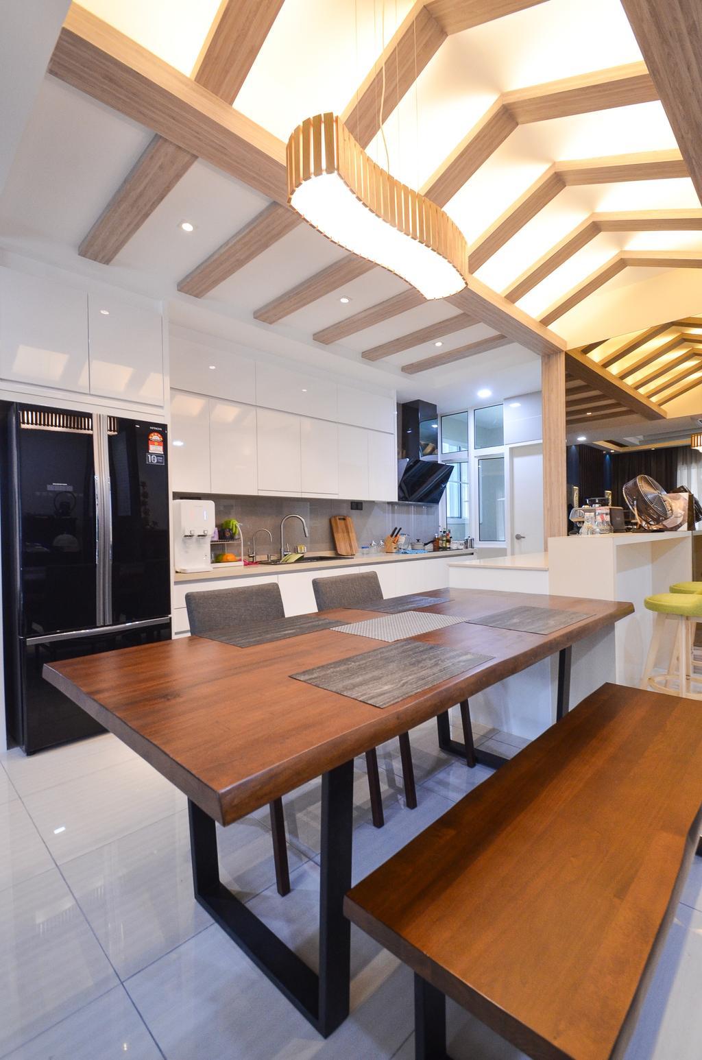Minimalistic, Landed, Damansara Foresta, Interior Designer, Interior+ Design Sdn. Bhd., Modern, Dining Table, Furniture, Table, Indoors, Interior Design, Kitchen, Room, Dining Room