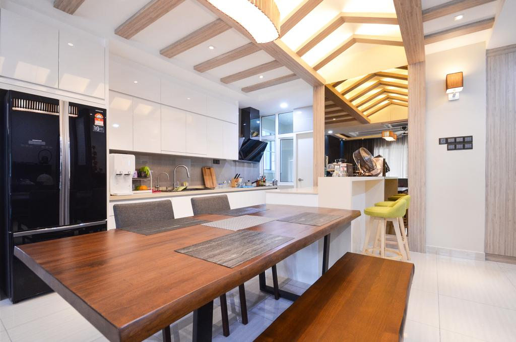 Minimalistic, Landed, Damansara Foresta, Interior Designer, Interior+ Design Sdn. Bhd., Modern, Human, People, Person, Dining Table, Furniture, Table, Dining Room, Indoors, Interior Design, Room, Kitchen