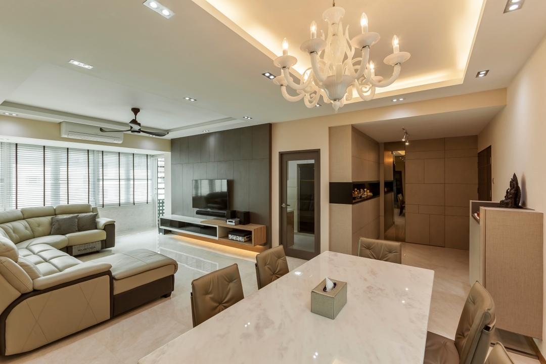 Bukit Timah, The Interior Lab, Modern, Living Room, Condo, Chandelier, False Ceiling, Cove Lighting, Dining Table, Dining Room Chairs, Sofa, Couch, L Shape Sofa, Leather Sofa, Tv Cabinets, Tv Console, Feature Wall, Blinds, Marble, Marble Flooring, Indoors, Interior Design