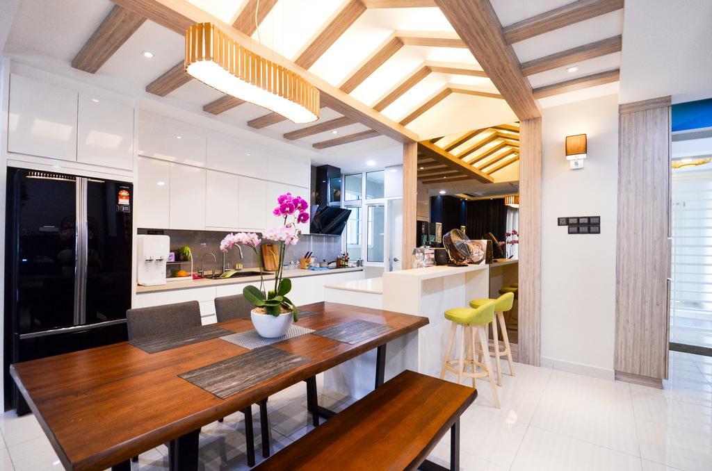 Minimalistic, Landed, Damansara Foresta, Interior Designer, Interior+ Design Sdn. Bhd., Modern, Dining Table, Furniture, Table, Banister, Handrail, Staircase, Dining Room, Indoors, Interior Design, Room
