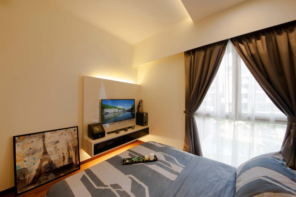 Contemporary, Condo, Bedroom, The Terrasse (Block 31), Interior Designer, Posh Living Interior Design, Sling Curtain, Art, Painting, Curtain, Home Decor