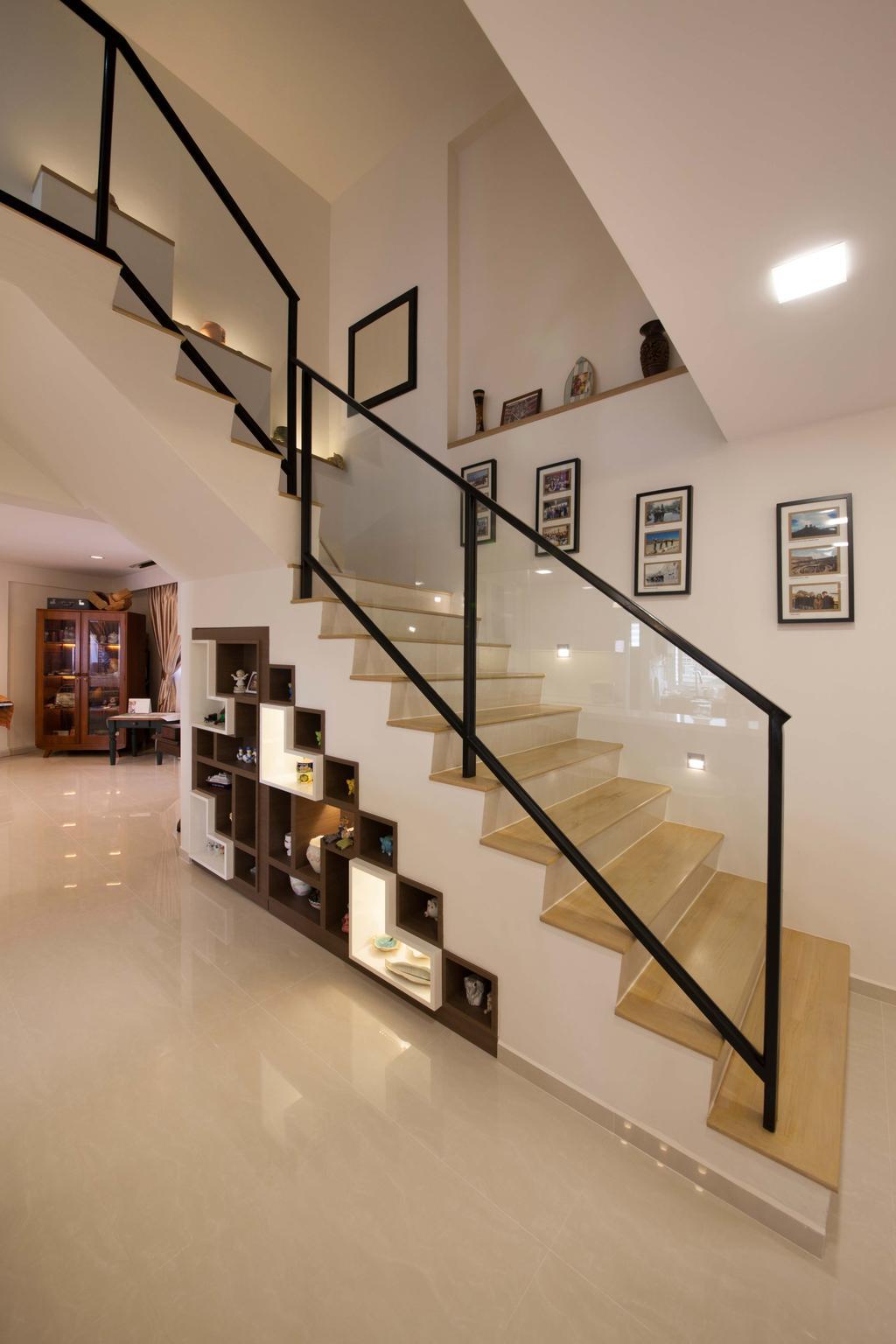 Modern, HDB, Living Room, Bishan (Block 201), Interior Designer, Space Define Interior, Tiles, Stairs, Display, Decorateive Items, Banister, Handrail, Staircase