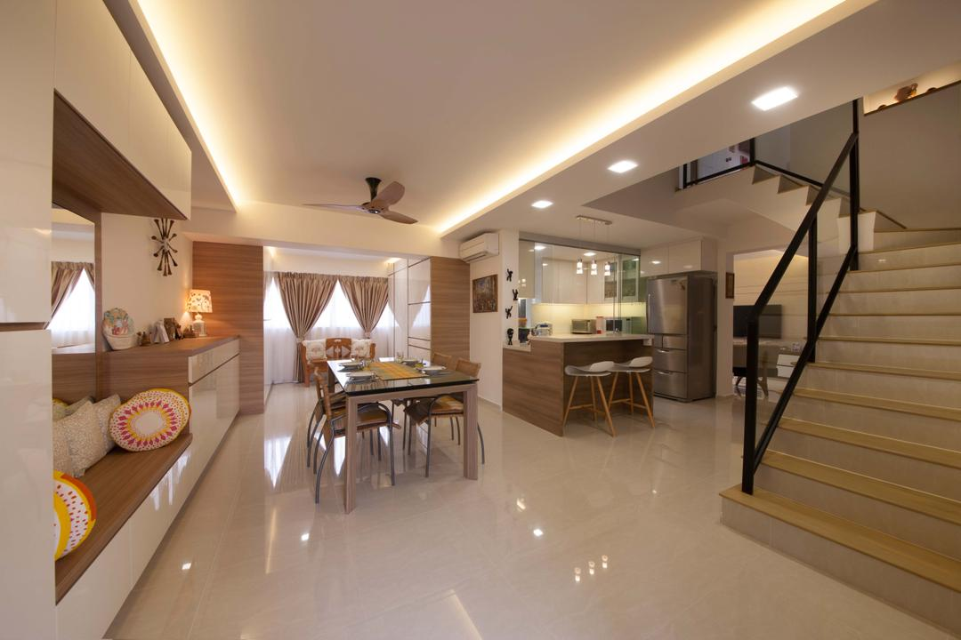 Bishan (Block 201), Space Define Interior, Modern, Dining Room, HDB, Dining Table, Dining Chairs, Stairs, Bench, Built In Bench, Cushions, Curtains, Clock, Cove Light, Ceiling Fan, Tiles, Furniture, Table, Banister, Handrail, Staircase, Indoors, Interior Design, Room