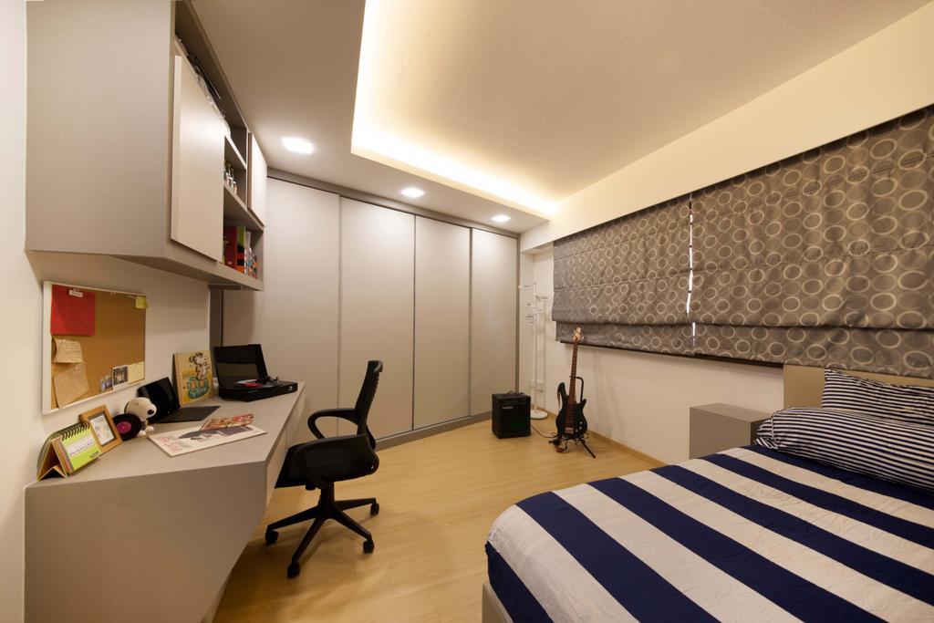 Modern, HDB, Bedroom, Bishan (Block 201), Interior Designer, Space Define Interior, Blinds, Bed, Wardrobe, Down Light, Book Shelf, Desk, Study Desk, Roller Chair, Lighting