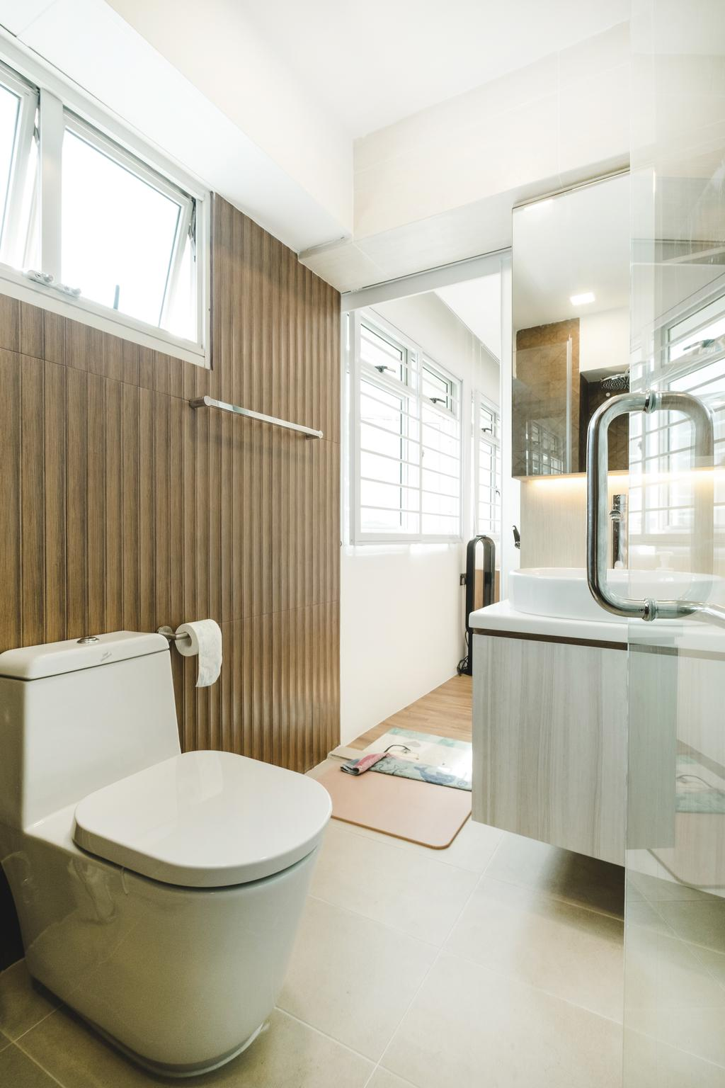 Minimalistic, HDB, Bathroom, Bukit Batok (Block 622), Interior Designer, Lemonfridge Studio, Sink, Indoors, Interior Design, Room