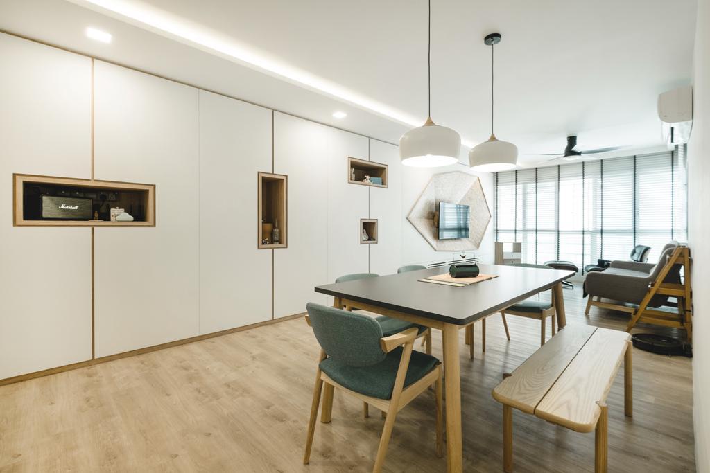 Minimalistic, HDB, Dining Room, Bukit Batok (Block 622), Interior Designer, Lemonfridge Studio, Dining Table, Furniture, Table, Indoors, Interior Design, Room, Chair