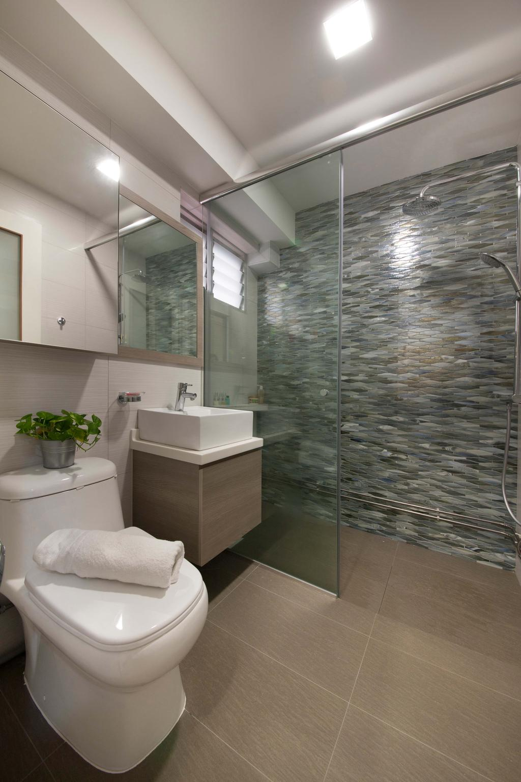 Modern, HDB, Bathroom, Bishan (Block 201), Interior Designer, Space Define Interior, Tiles, Wall Tiles, Sink, Cabinet, Toilet Bowl, Shower, Shower Screen, Flora, Jar, Plant, Potted Plant, Pottery, Vase, Indoors, Interior Design, Room