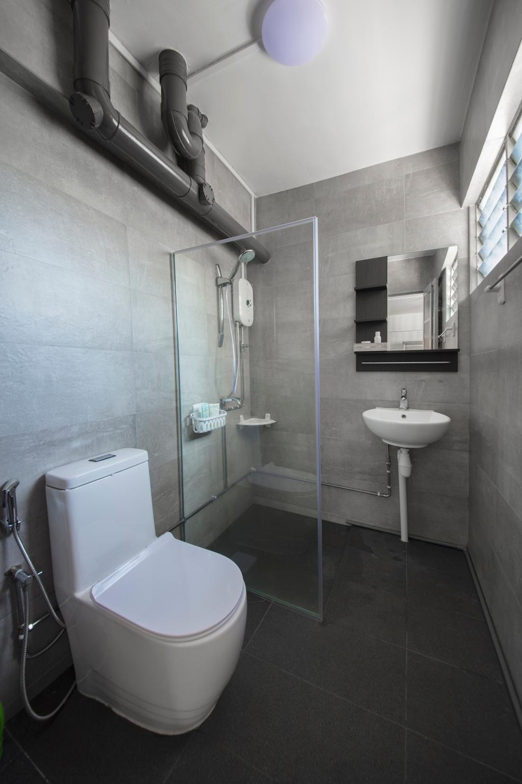 Modern, HDB, Bathroom, Lor Ah Soo, Interior Designer, Colourbox Interior, Scandinavian, Indoors, Interior Design, Room, Toilet