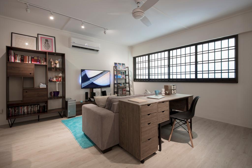 Modern, HDB, Study, Lor Ah Soo, Interior Designer, Colourbox Interior, Scandinavian, Bookcase, Furniture, Desk, Table