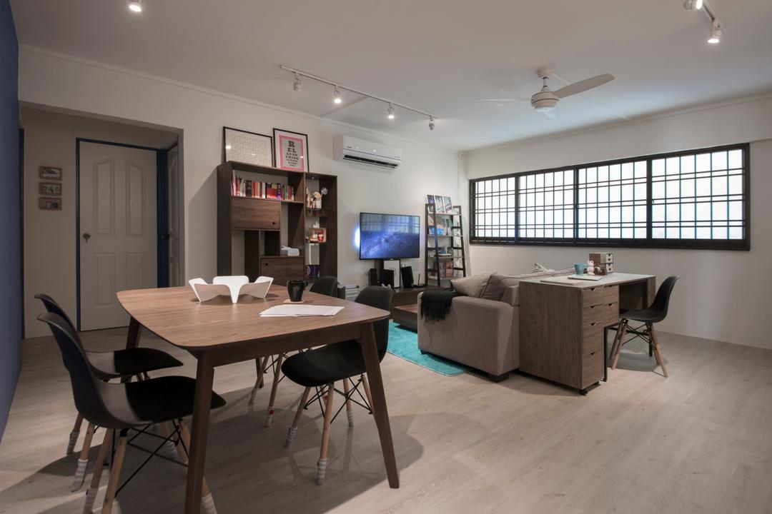 Lor Ah Soo, Colourbox Interior, Modern, Scandinavian, Living Room, HDB, Chair, Furniture, Bookcase, Dining Room, Indoors, Interior Design, Room, Basement