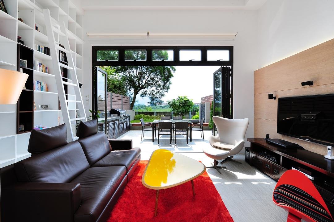 加州花園, Krispace Design Consultancy, 當代, 隨性, 摩登, 客廳, 獨立屋, Couch, Furniture, Bookcase, Indoors, Interior Design, Terrace