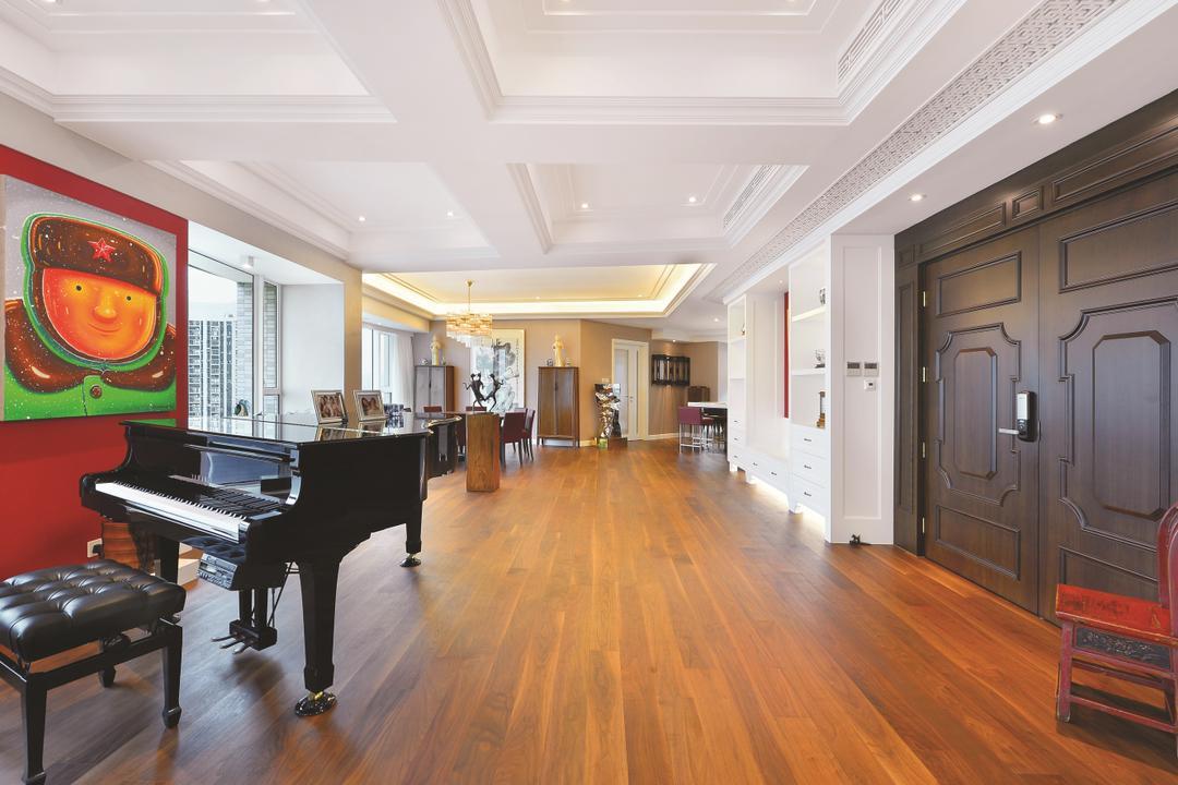 富匯豪庭, Krispace Design Consultancy, 當代, 客廳, 私家樓, Grand Piano, Leisure Activities, Music, Musical Instrument, Piano, Flooring
