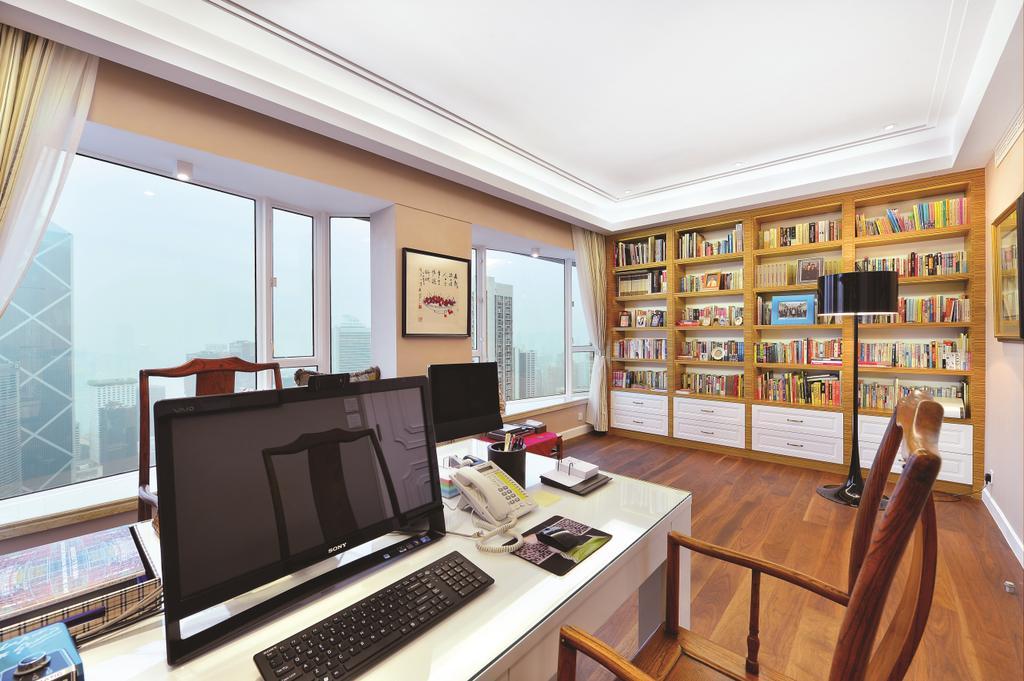 當代, 私家樓, 書房, 富匯豪庭, 室內設計師, Krispace Design Consultancy, Indoors, Interior Design, Desk, Furniture, Table, Computer, Electronics, Laptop, Pc