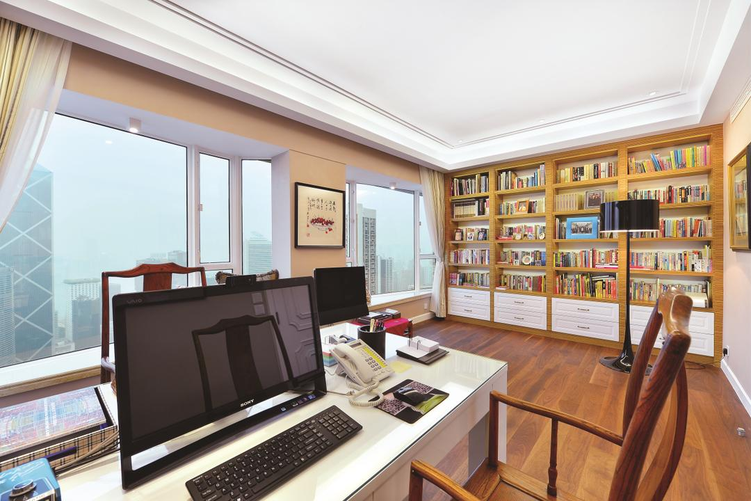 富匯豪庭, Krispace Design Consultancy, 當代, 書房, 私家樓, Indoors, Interior Design, Desk, Furniture, Table, Computer, Electronics, Laptop, Pc