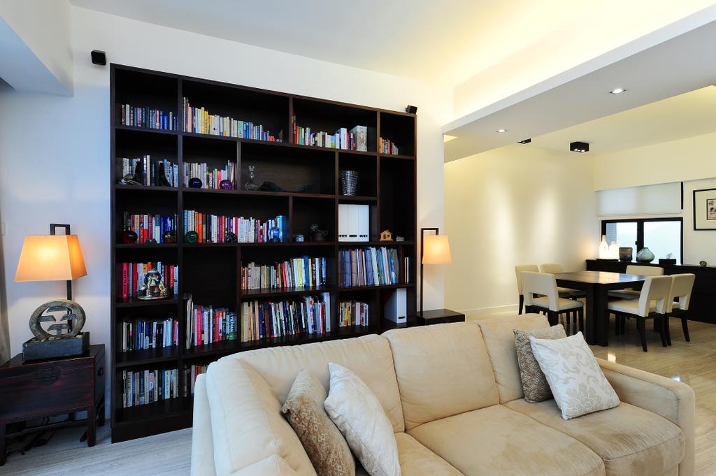 摩登, 私家樓, 客廳, 嘉雲台, 室內設計師, Krispace Design Consultancy, Couch, Furniture, Lamp, Dining Table, Table, Bookcase