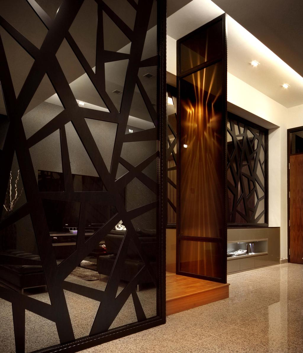 Modern, Landed, Living Room, Mimosa Drive, Interior Designer, I-Bridge Design, Partition, Tiles, Platform, Banister, Handrail, Staircase, Triangle