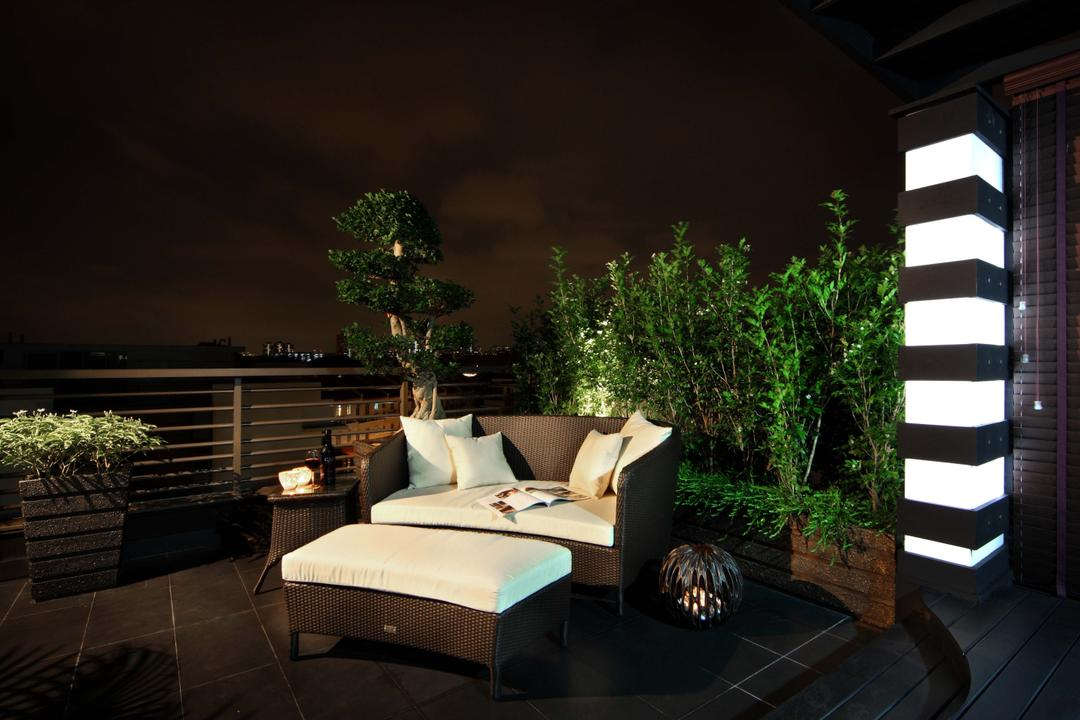 Mimosa Drive, I-Bridge Design, Modern, Balcony, Landed, Lamp, Outdoor Furniture, Plants, Grille, Flora, Jar, Plant, Potted Plant, Pottery, Vase, Conifer, Tree, Yew, Terrace
