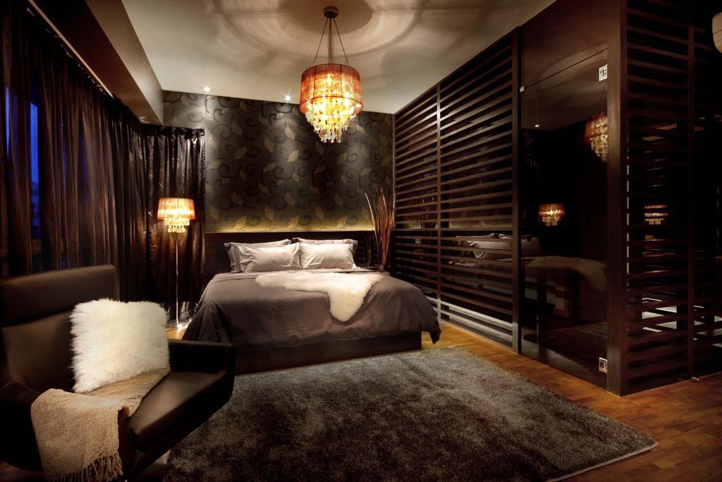 Modern, Landed, Bedroom, Mimosa Drive, Interior Designer, I-Bridge Design, Bed, Wood Flooring, Cosy, Hotel, Suite, Luxury, Light Fixture, Chair, Furniture, Indoors, Interior Design, Room