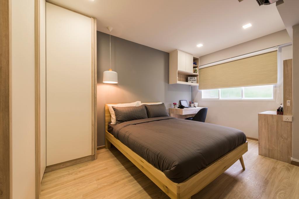 Minimalistic, HDB, Bedroom, Choa Chu Kang Drive (Block 689A), Interior Designer, Voila, Bed, Furniture, Indoors, Interior Design, Room
