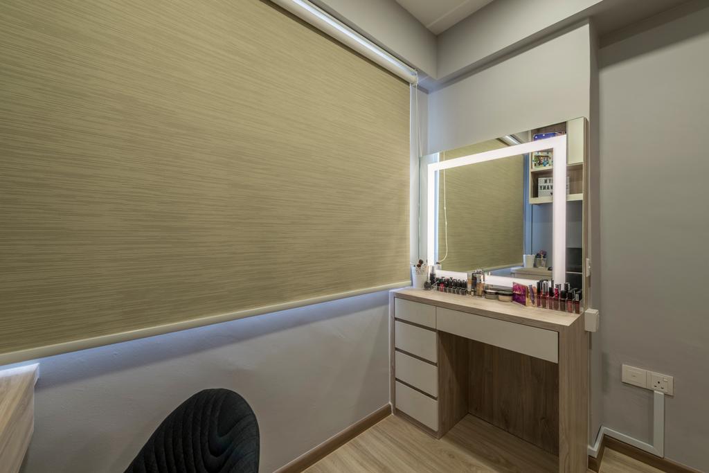 Minimalistic, HDB, Bedroom, Choa Chu Kang Drive (Block 689A), Interior Designer, Voila, Bathroom, Indoors, Interior Design, Room, Furniture, Sideboard