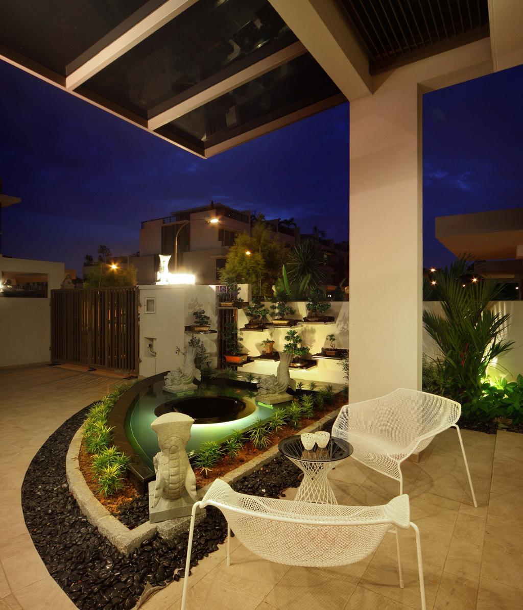 Modern, Landed, Garden, Mimosa Drive, Interior Designer, I-Bridge Design, Balcony, Flora, Jar, Plant, Potted Plant, Pottery, Vase, Chair, Furniture, Indoors, Interior Design, Sink
