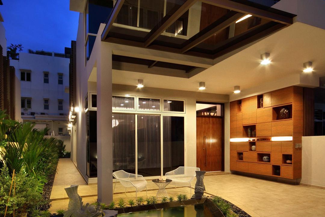 Mimosa Drive, I-Bridge Design, Modern, Garden, Landed, Exterior, Front Porch, Garage, Pond, Tile, Water Fountain, Water Feature, Indoors, Interior Design, Building, House, Housing, Villa