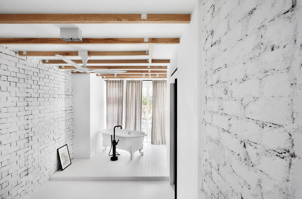 Industrial, Landed, Bathroom, Watten Estate (Townhouse), Interior Designer, IN-EXPAT, Minimalistic, Bathtub, Bath Tub, Freestanding Tub, Corridor