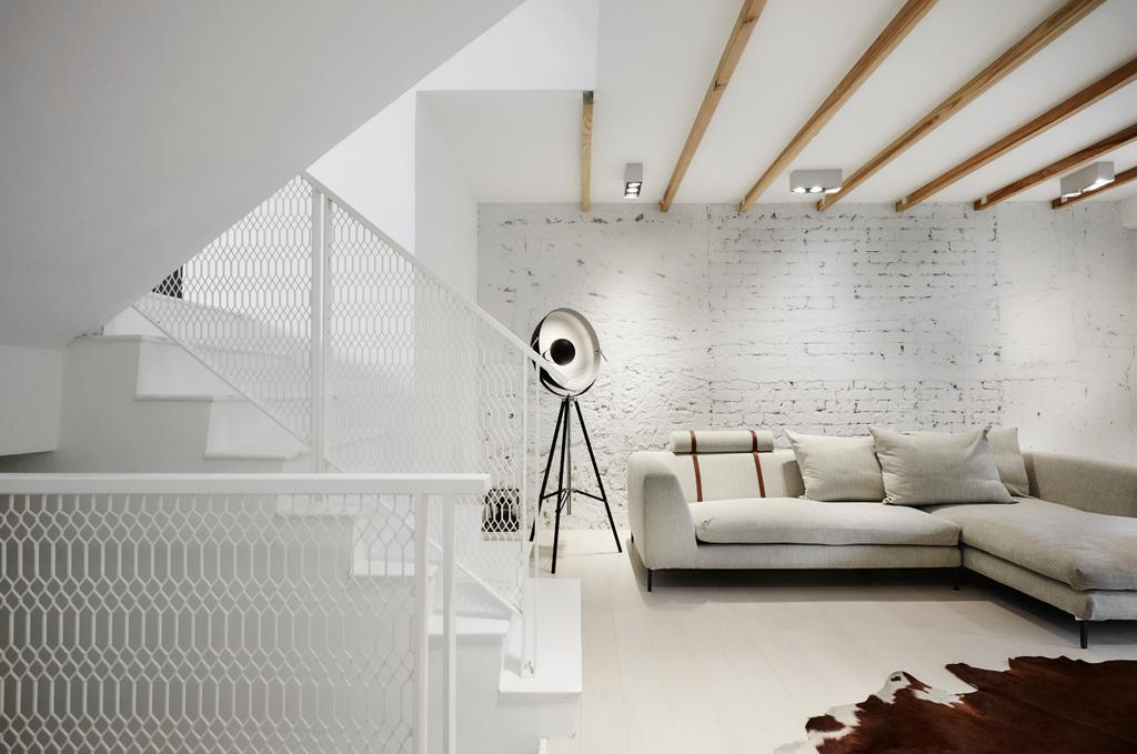Industrial, Landed, Living Room, Watten Estate (Townhouse), Interior Designer, IN-EXPAT, Minimalistic, Furniture, Studio Couch, Couch, HDB, Building, Housing, Indoors, Loft, Scale