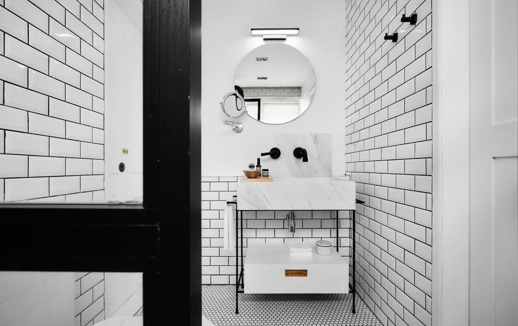 Industrial, Landed, Bathroom, White Brick House (Townhouse), Architect, UPSTAIRS_, Minimalistic