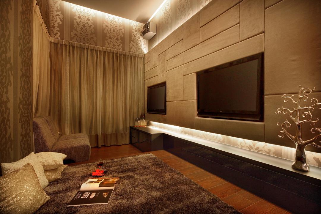 Mimosa Drive, I-Bridge Design, Modern, Bedroom, Landed, Curtain, Wallpaper, Tv Console, Tv Inbuilt, Rug, Wood Flooring, Indoors, Interior Design