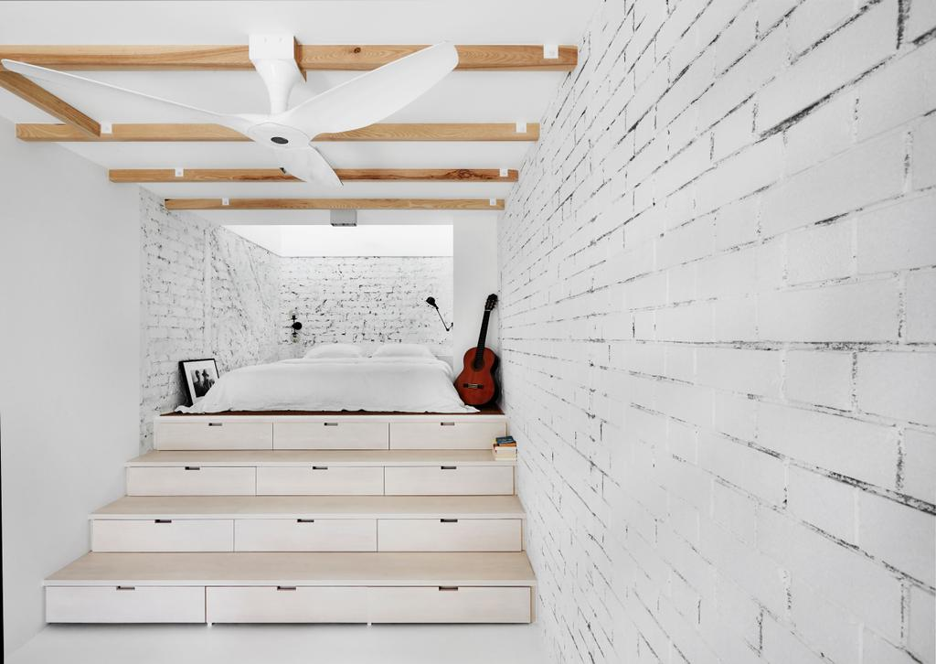 Industrial, Landed, Bedroom, White Brick House (Townhouse), Architect, UPSTAIRS_, Minimalistic