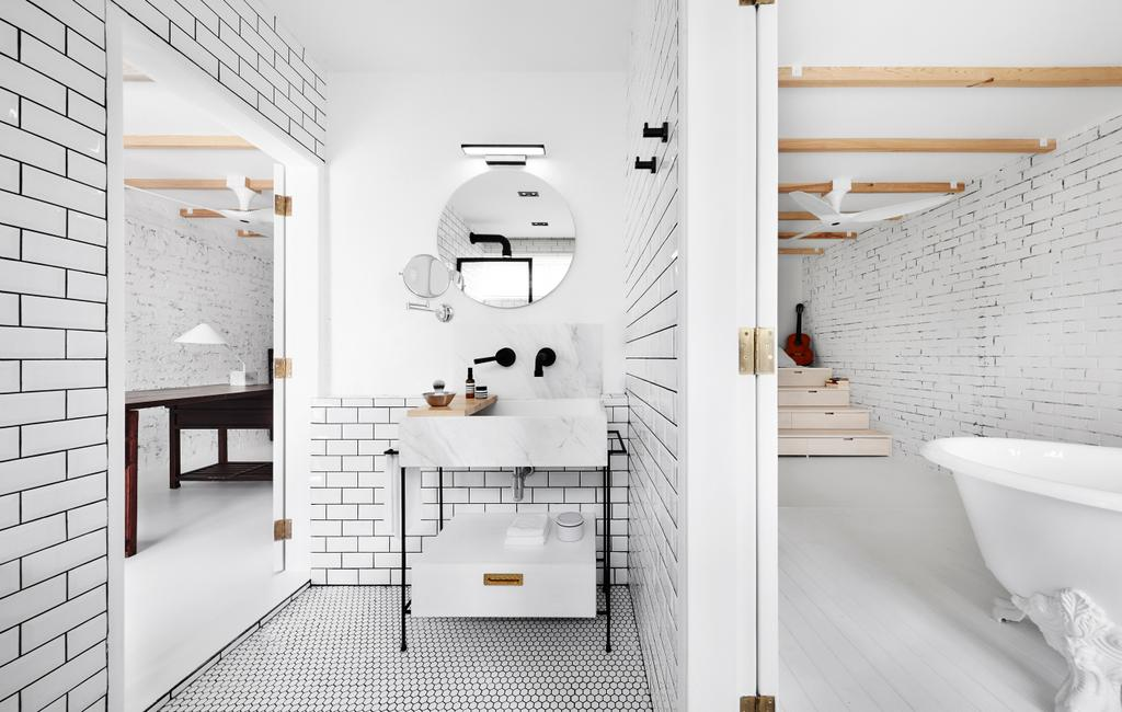 Industrial, Landed, Bathroom, White Brick House (Townhouse), Architect, UPSTAIRS_, Minimalistic, Indoors, Interior Design, Room