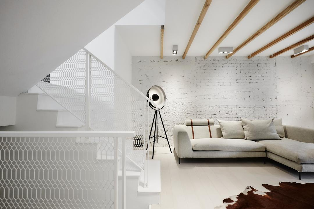 White Brick House (Townhouse), UPSTAIRS_, Industrial, Minimalistic, Living Room, Landed, Furniture, Studio Couch, Couch, HDB, Building, Housing, Indoors, Loft, Scale