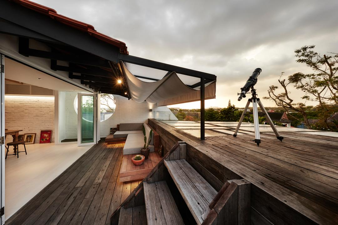 White Brick House (Townhouse), UPSTAIRS_, Industrial, Minimalistic, Balcony, Landed, Tripod, Wood, Furniture