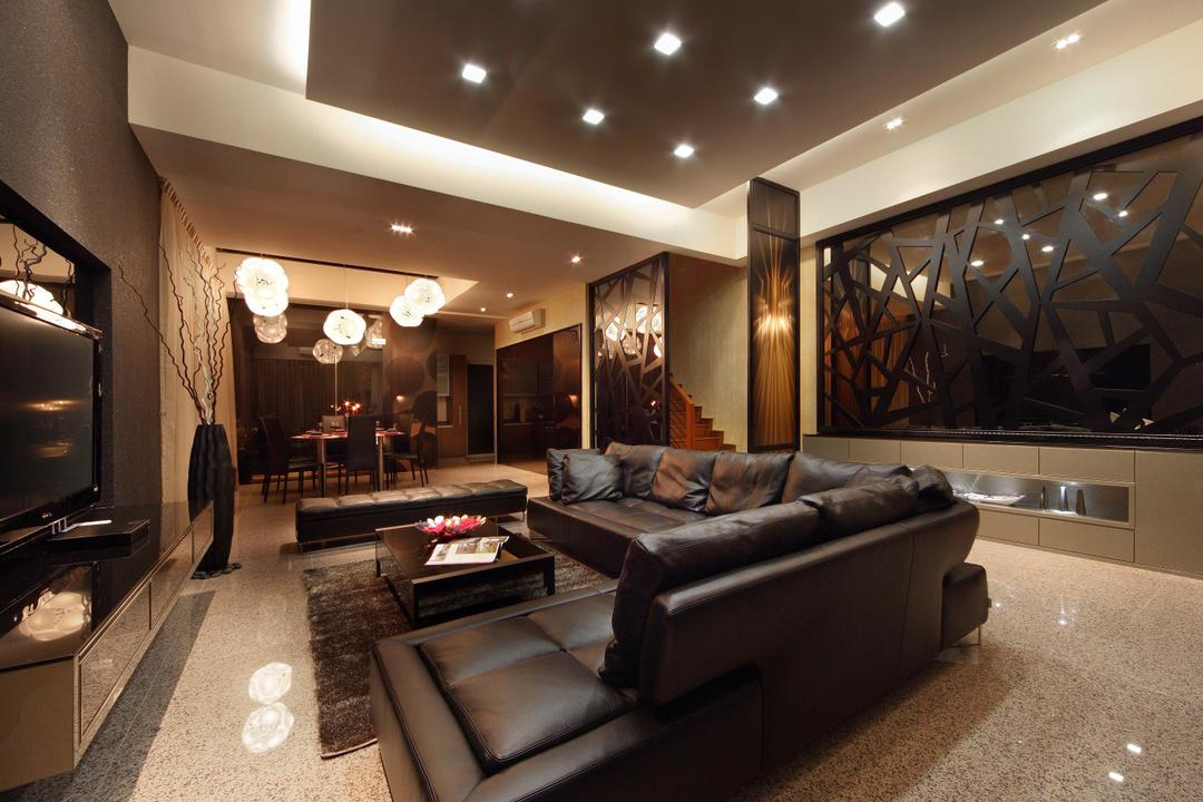 Mimosa Drive, I-Bridge Design, Modern, Living Room, Landed, Partition, Leather Sofa, Tiles, Brown, Dark Colours, False Ceiling, Spotlight, Recessed Lightings, Dark, Luxurious, Couch, Furniture, Dining Room, Indoors, Interior Design, Room